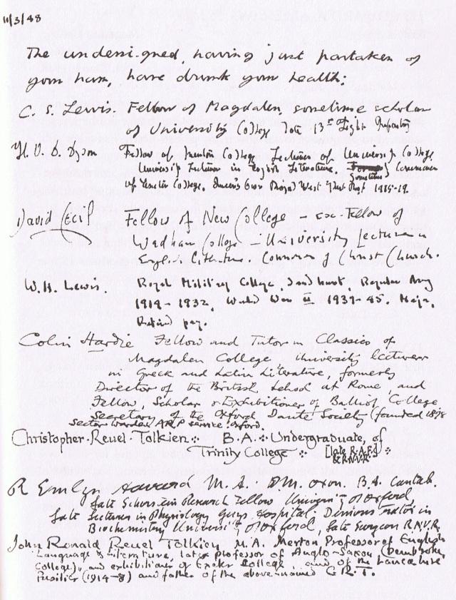 Inklings List 1948 Ham