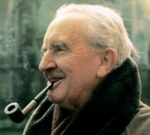 J R R Tolkien - Smoking Pipe Outdoors