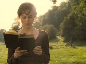 pride and prejudice Keira Knightley reading a book