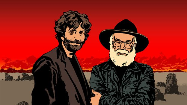 terry-pratchett-and-neil-gaiman cartoon