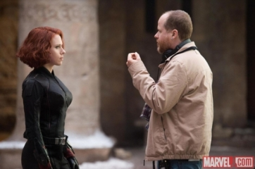 joss whedon scarlett johansson on set