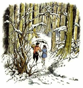 Pauline Baynes snowy wood faun lucy
