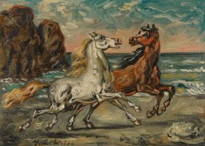 Giorgio de Chirico Horses on the sea shore 1950