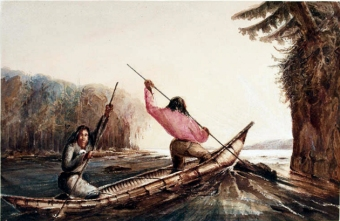 Micmac Indians Poling a Canoe Up a Rapid, Oromocto Lake, NB Richard George Augustus Levinge 19th c