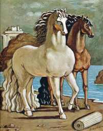 Two Horses by a Lake - Giorgio de Chirico