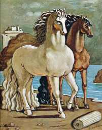 Two Horses by a Lake - Giorgio de Chirico