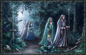 Many legends of elves speak of the Trooping of the Elves, a mysterious night trek of a long line of elves, and woe to the human who spies them! This is referenced in Lord of the Rings, the long march of the Elves as they leave Middle Earth... picture from WikiCommons
