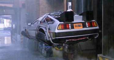 back-future flying delorean