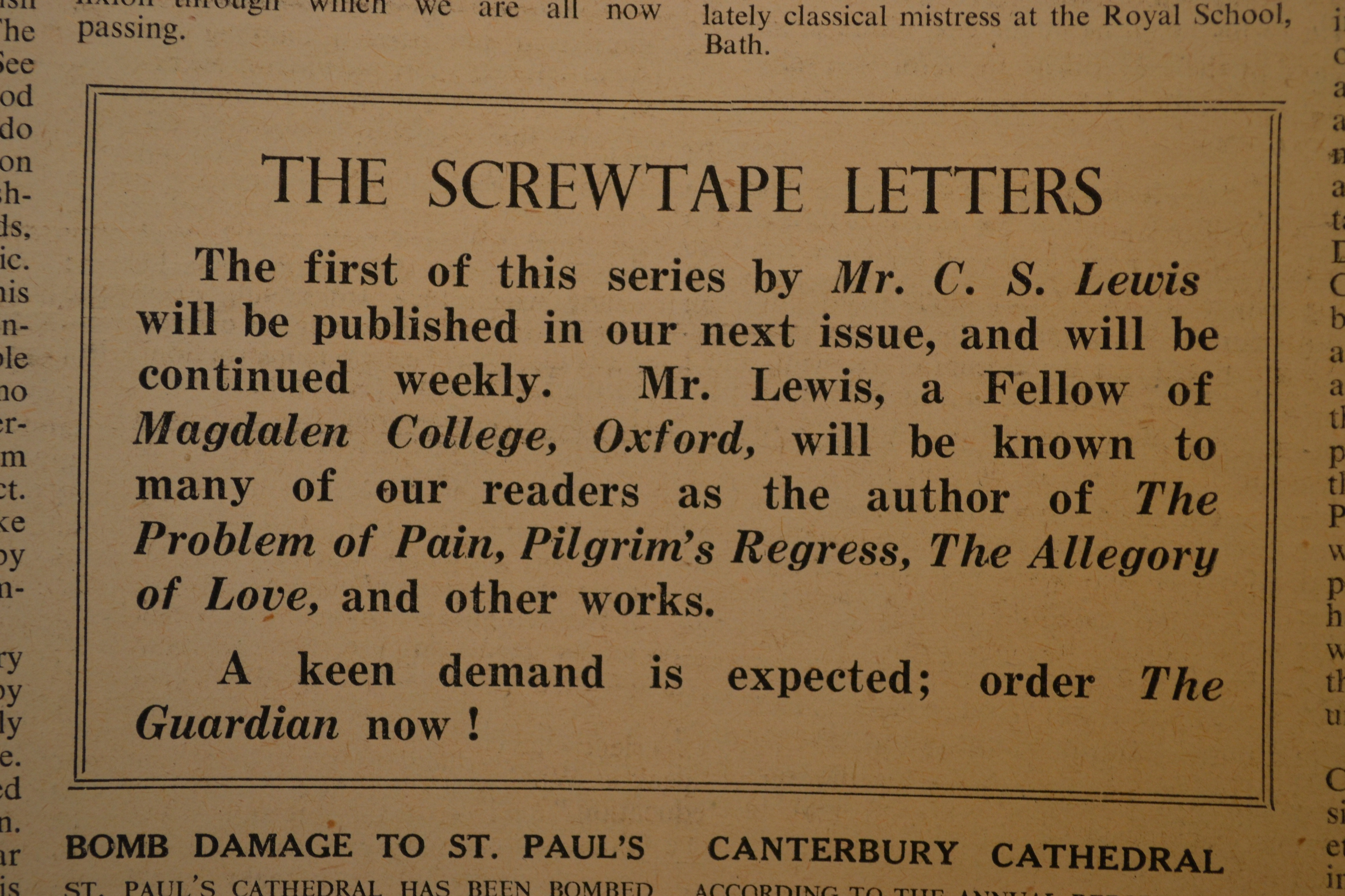 A Manuscript List and Timeline of The Screwtape Letters
