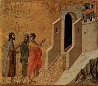 Jesus and the two disciples On the Road to Emmaus, by Duccio
