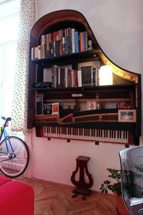 Beautiful Bookshelf From Waste Piano
