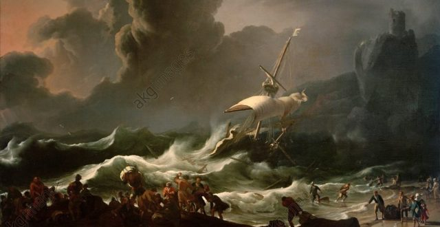 L.Backhuysen / Paul's Shipwreck.Backhuysen, Ludolf; Dutch painter. 1630–1708