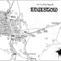 """The Country Around Edgestow"": A Map from C.S. Lewis' That Hideous Strength by Tim Kirk from Mythlore"